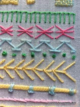 couching, fly stitch