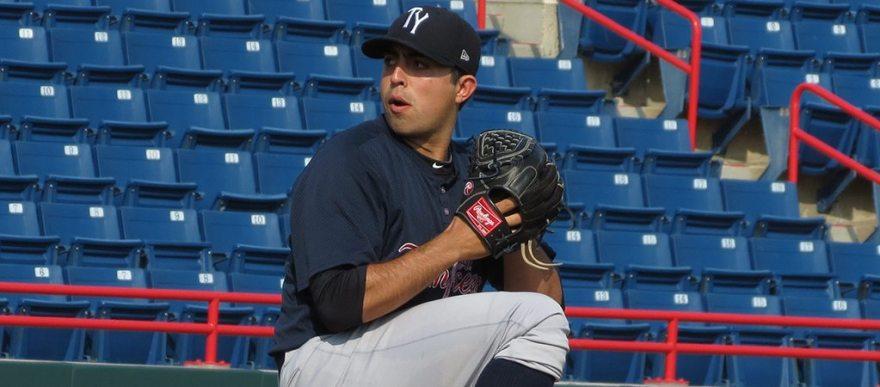 Dan Camarena pitching for the Tampa Yankees in 2014 (Bryan Green)