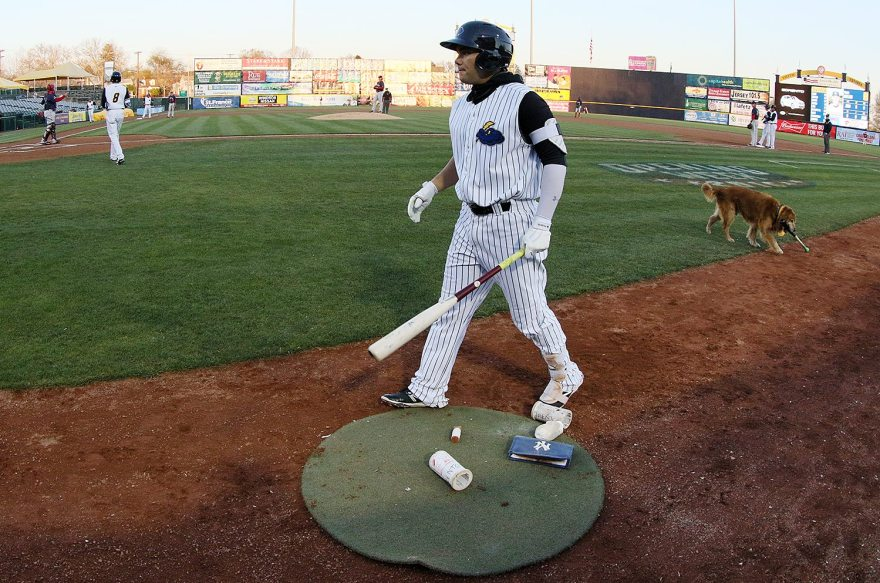 Trenton Thunder third baseman Dante Bichette Jr. on deck against the Portland Sea Dogs at ARM & HAMMER Park in Trenton on Wednesday, April 13, 2016. Photo by Martin Griff