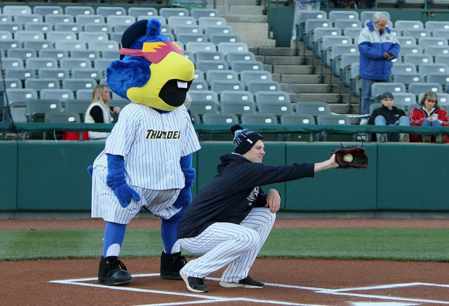 Last night's starting pitcher Jordan Montgomery and Trenton Thunder mascot Boomer behind the place for the ceremonial first pitch before a game against the Portland Sea Dogs at ARM & HAMMER Park in Trenton on Wednesday, April 13, 2016. Photo by Martin Griff