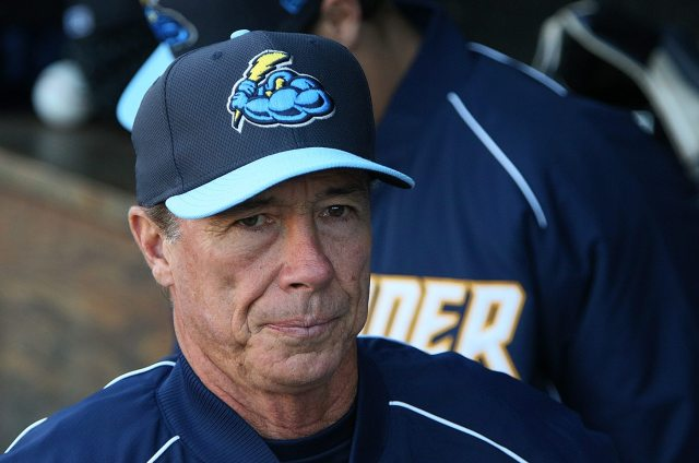 Trenton Thunder manager Bobby Mitchell in the dugout before a game against the Portland Sea Dogs at Arm & Hammer Park in Trenton on Tuesday, April 12, 2016. Photo by Martin Griff