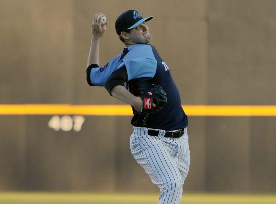 Trenton Thunder southpaw Jordan Montgomery pitches in the first inning of his Double A debut against the Portland Sea Dogs at Arm & Hammer Park in Trenton on Tuesday, April 12, 2016. Photo by Martin Griff.