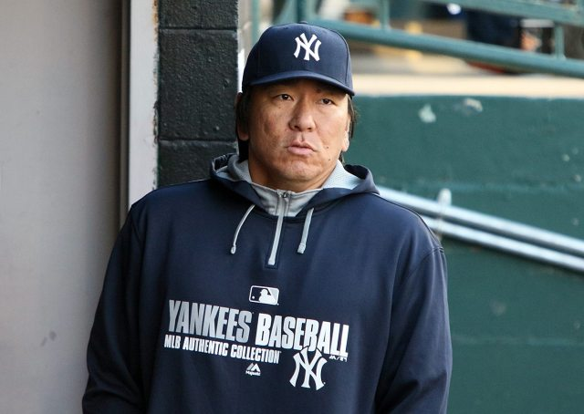 """Hideki """"Godzilla"""" Matsui, a special adviser to New York Yankees general manager Brian Cashman looks out from the AA Trenton Thunder dugout during a game against the Portland Sea Dogs at Arm & Hammer Park in Trenton on Tuesday, April 12, 2016. Photo by Martin Griff."""