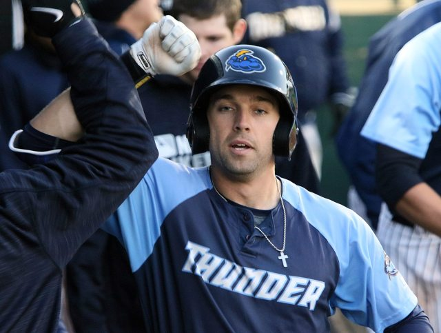 Trenton Thunder outfielder Jake Cave is congratulated in the dugout after hitting a home run to right field in the second inning against the Portland Sea Dogs at Arm & Hammer Park in Trenton on Tuesday, April 12, 2016. Photo by Martin Griff.