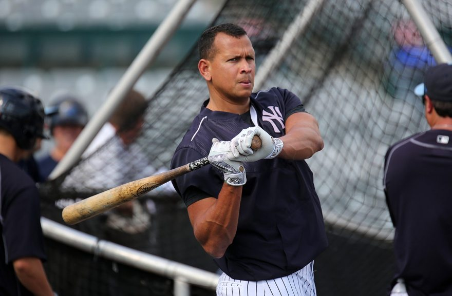 New York Yankees slugger Alex Rodriguez takes batting practice with the Trenton Thunder at ARM & HAMMER Park in Trenton on Tuesday, May 24, 2016 before a game against the New Hampshire FisherCats. Rodriguez joins the Double A team as part of a rehab assignment because of a hamstring injury Photo by Martin Griff
