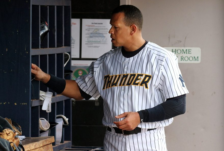 New York Yankees slugger Alex Rodriguez in the dugout at ARM & HAMMER Park in Trenton on Tuesday, May 24, 2016 against the New Hampshire FisherCats. Rodriguez joined the Double A Trenton Thunder team as part of a rehab assignment because of a hamstring injury Photo by Martin Griff