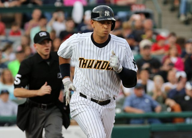 New York Yankees slugger Alex Rodriguez runs to first base on a first inning pop up at ARM & HAMMER Park in Trenton on Tuesday, May 24, 2016 against the New Hampshire FisherCats. Rodriguez joined the Double A Trenton Thunder team as part of a rehab assignment because of a hamstring injury Photo by Martin Griff