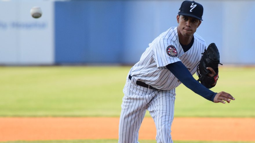 Adonis Rosa got the start for the Staten Island Yankees, pitching 7 strong innings and striking out 7 batters. (Robert M. Pimpsner)