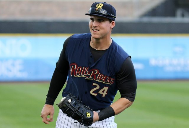 Scranton/Wilkes-Barre RailRider's Tyler Austin before a game against the Charlotte Knights at PNC Field in Moosic, Pa. on Tuesday, June 7, 2016. Photo by Martin Griff