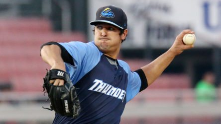 Trenton Thunder starting pitcher Caleb Smith works during Game 4 of the Divisional Series of the Eastern League Playoffs against the Reading Fightin Phils at FirstEnergy Stadium in Reading, Pa. on Saturday, September 10, 2016. Photo by Martin Griff
