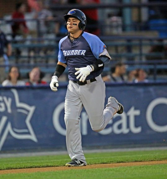 Trenton Thunder first baseman Dante Bichette Jr. rounds the bases after hitting a home run in the second inning of Game 4 of the Divisional Series of the Eastern League Playoffs against the Reading Fightin Phils at FirstEnergy Stadium in Reading, Pa. on Saturday, September 10, 2016. Photo by Martin Griff