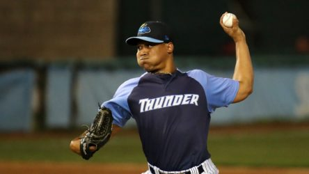 Left-hander Justus Sheffield shows excellent mound presence for a 20-year-old in Double-A (Photo by Martin Griff)