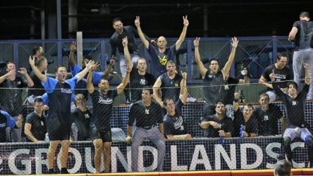 Trenton Thunder players celebrate in a pool in the stands after beating the Reading Fightin Phils 3-2 in Game 4 of the Divisional Series of the Eastern League Playoffs against the at FirstEnergy Stadium in Reading, Pa. on Saturday, September 10, 2016. The Thunder won the best of five series 3 games to 1. Photo by Martin Griff