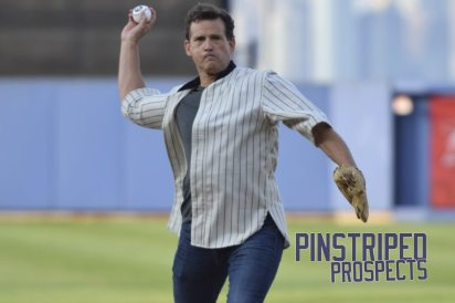 Field of Dreams actor Dwier Brown throws the ceremonial first pitch prior to the game (Robert M. Pimpsner)