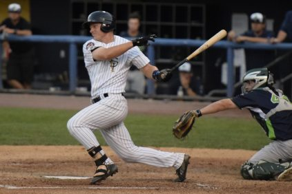 Trey Amburgey was impressive in his first night as a member of the Staten Island Yankees (Robert M Pimpsner)