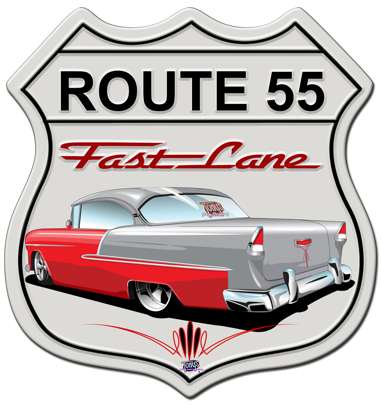 55 CHEVY SHIELD Metal sign
