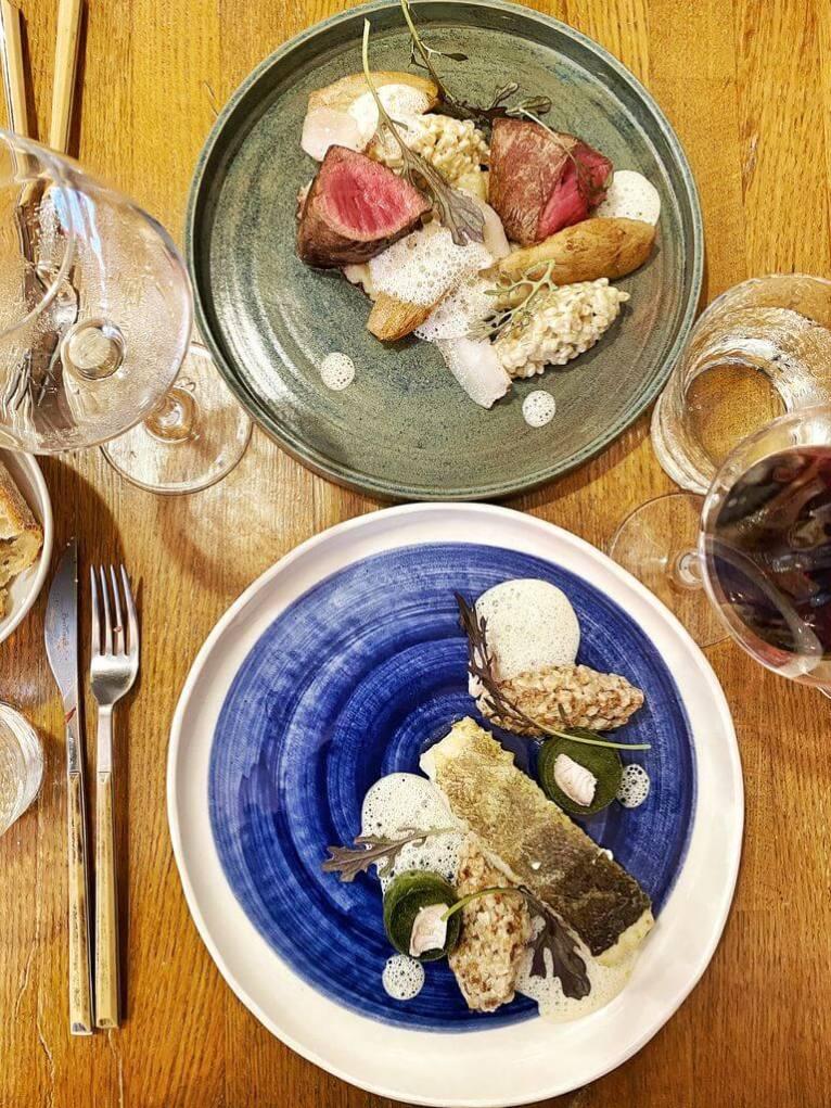 Boeuf aubrac et Lieu jaune de ligne - Bistro Urbain restaurant