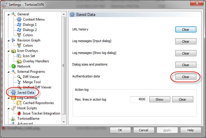 TortoiseSVN Settings Clear Authentication data