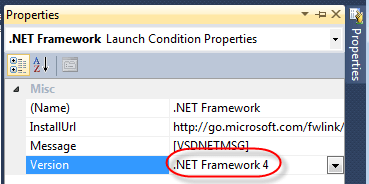 VS Prerequisites Setup LaunchCondition Properties