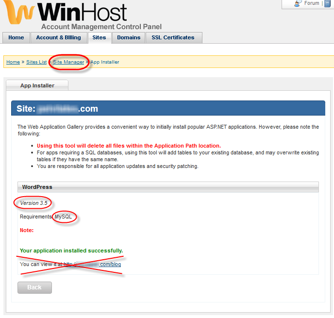 Winhost App Installer WordPress Install Success Message
