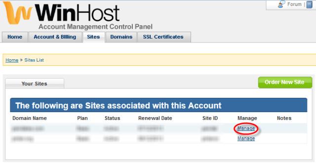Winhost Sites Manage Link