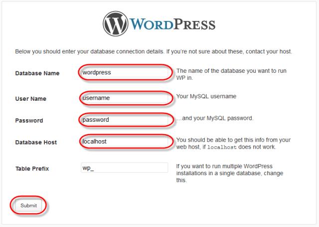 WodrPress Setup Config Enter Values