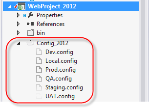web application solution explorer show all files config_2012 folder and files