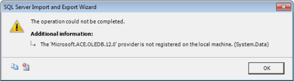 The 'Microsoft ACE OLEDB 12 0' provider is not registered on the