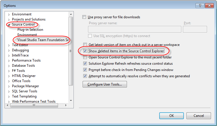 visual studio tfs show deleted items in source control explorer