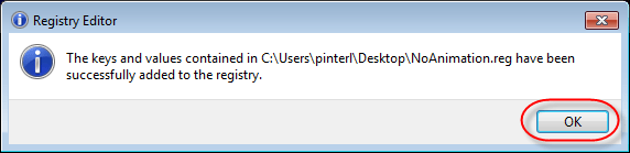 Registry Editor Success dialog