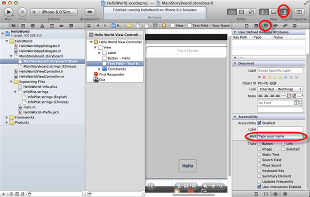 xcode type accessibility hint