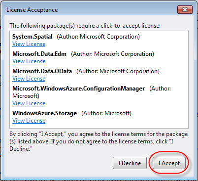 azure nuget windows azure storage dependencies
