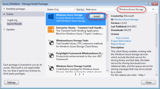 azure nuget windows azure storage
