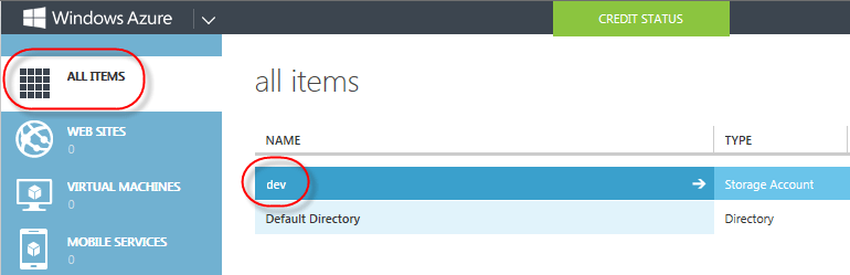 azure select storage account