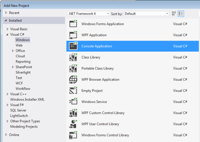 visual studio console application