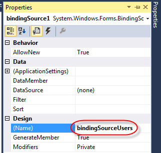Visual Studio DataGridview Binding DatSource properties