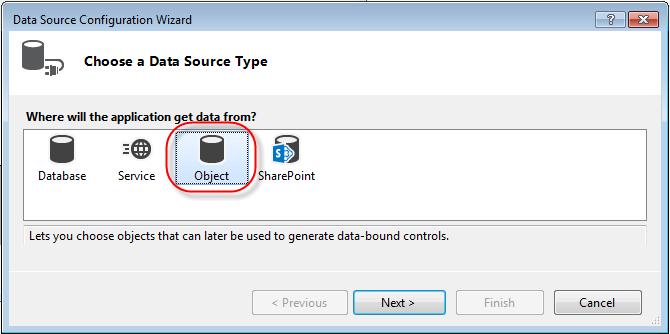 Visual Studio DataGridview Binding Data Source properties choose data source type