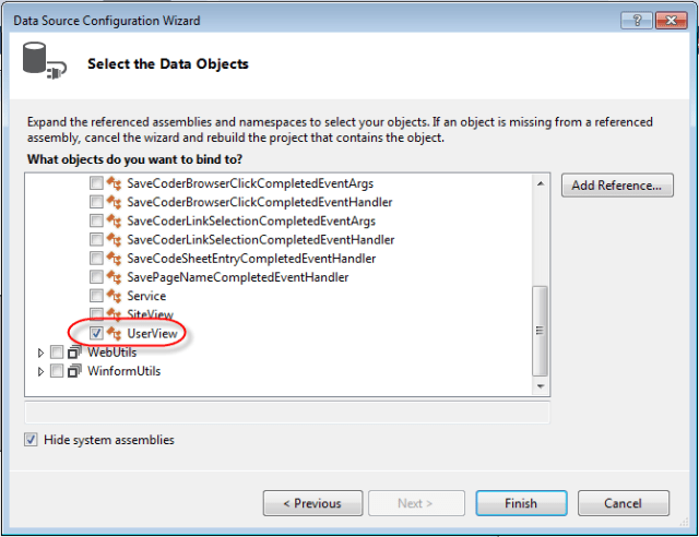 Visual Studio DataGridview Binding Data Source properties select data object