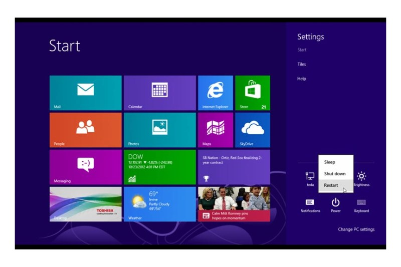 win 8 shutdown start page power button