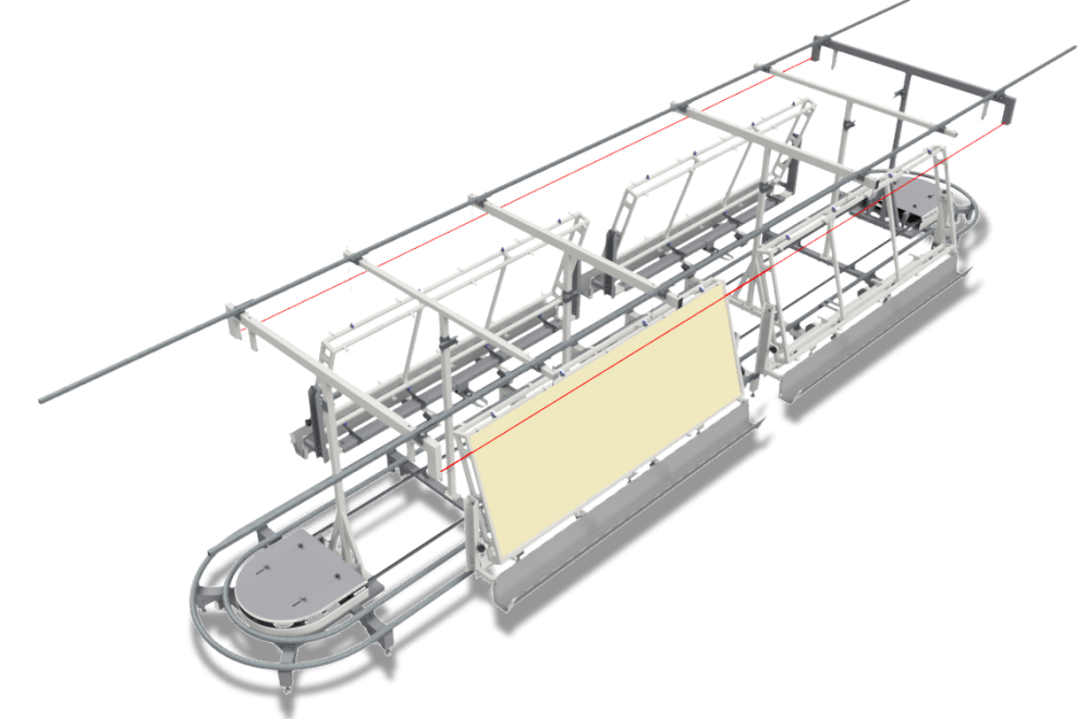 medium resolution of trays move in a controlled way throughout the line they slide on tubular rails above ground under regulable speed support and sliding structure and