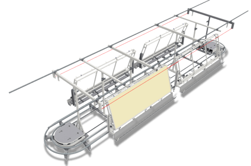 small resolution of trays move in a controlled way throughout the line they slide on tubular rails above ground under regulable speed support and sliding structure and