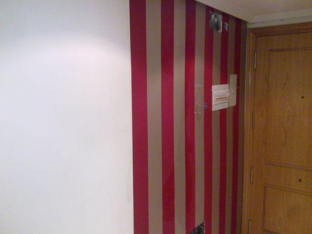 Papel pintado a Rayas Rojas y plata Grandes