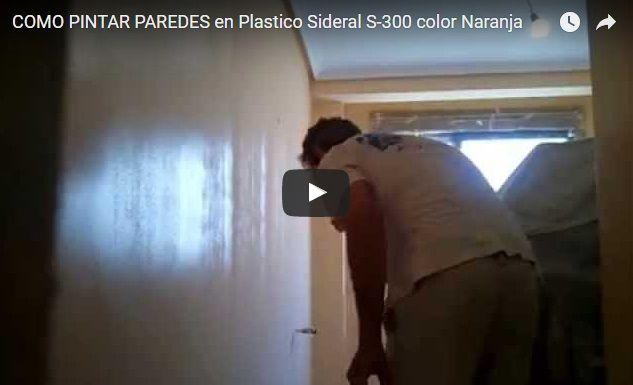 Como pintar paredes con pintura plastica Sideral S-300 Naranja a rodillo