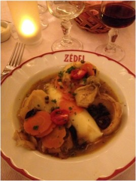 Braised Artichoke and Mash in Brasserie Zedel