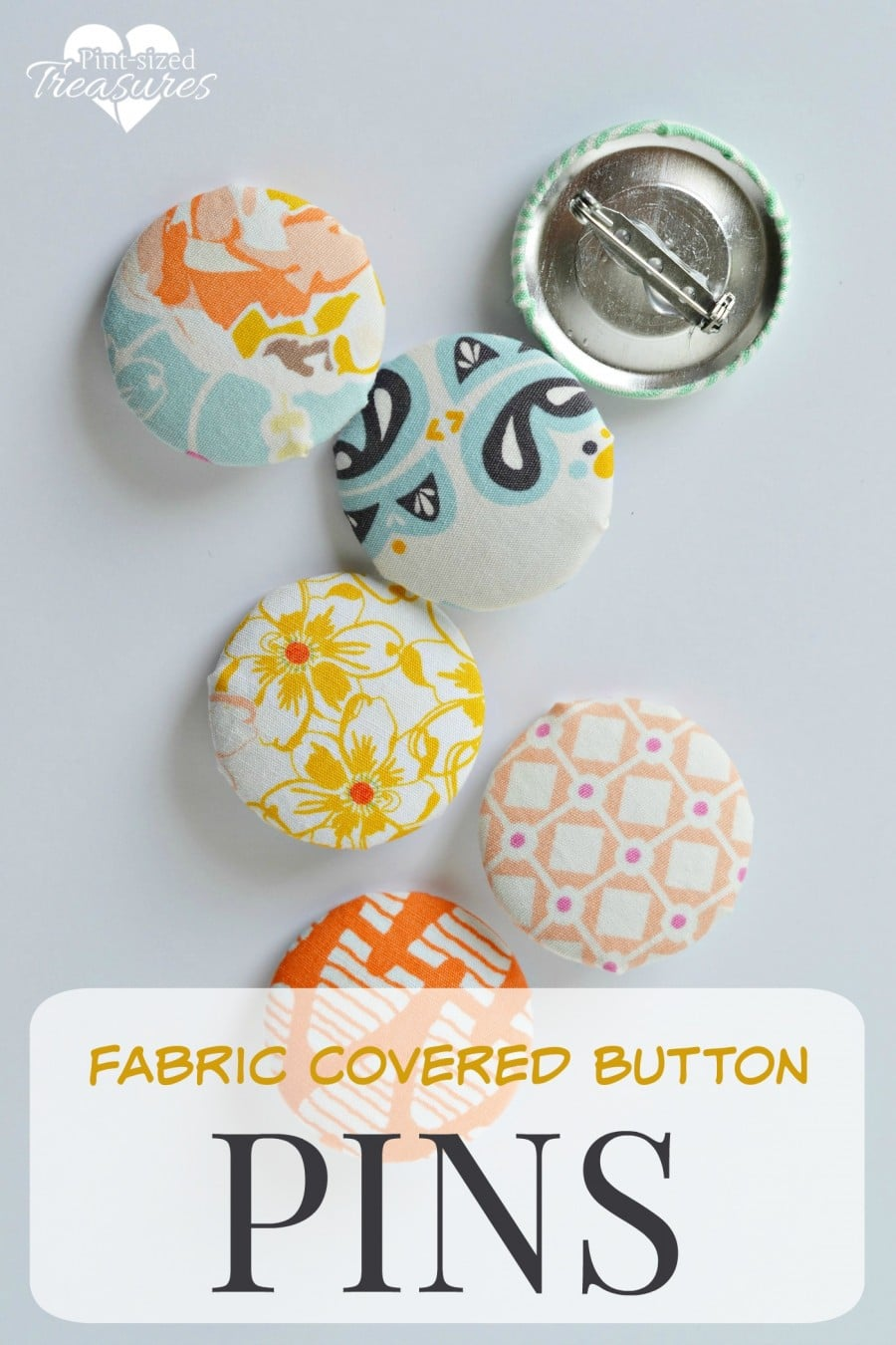 Fabric Pins : fabric, Fabric, Covered, Button, Pint-sized, Treasures