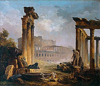 fall of the American empire? -- Hubert, Roman Ruins with the Colosseum (1798)