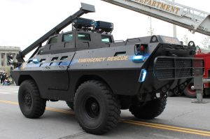 a police paramilitary assault vehicle -- police reform