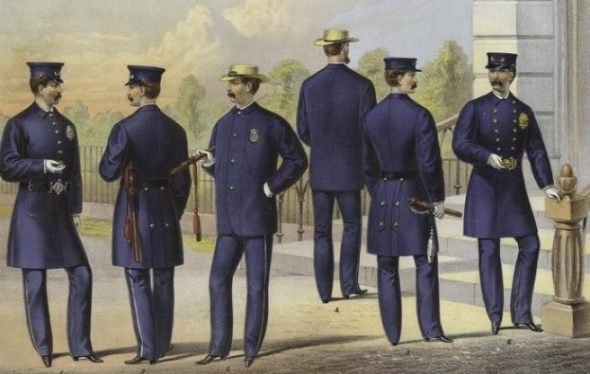 police history: New York policemen, 1871