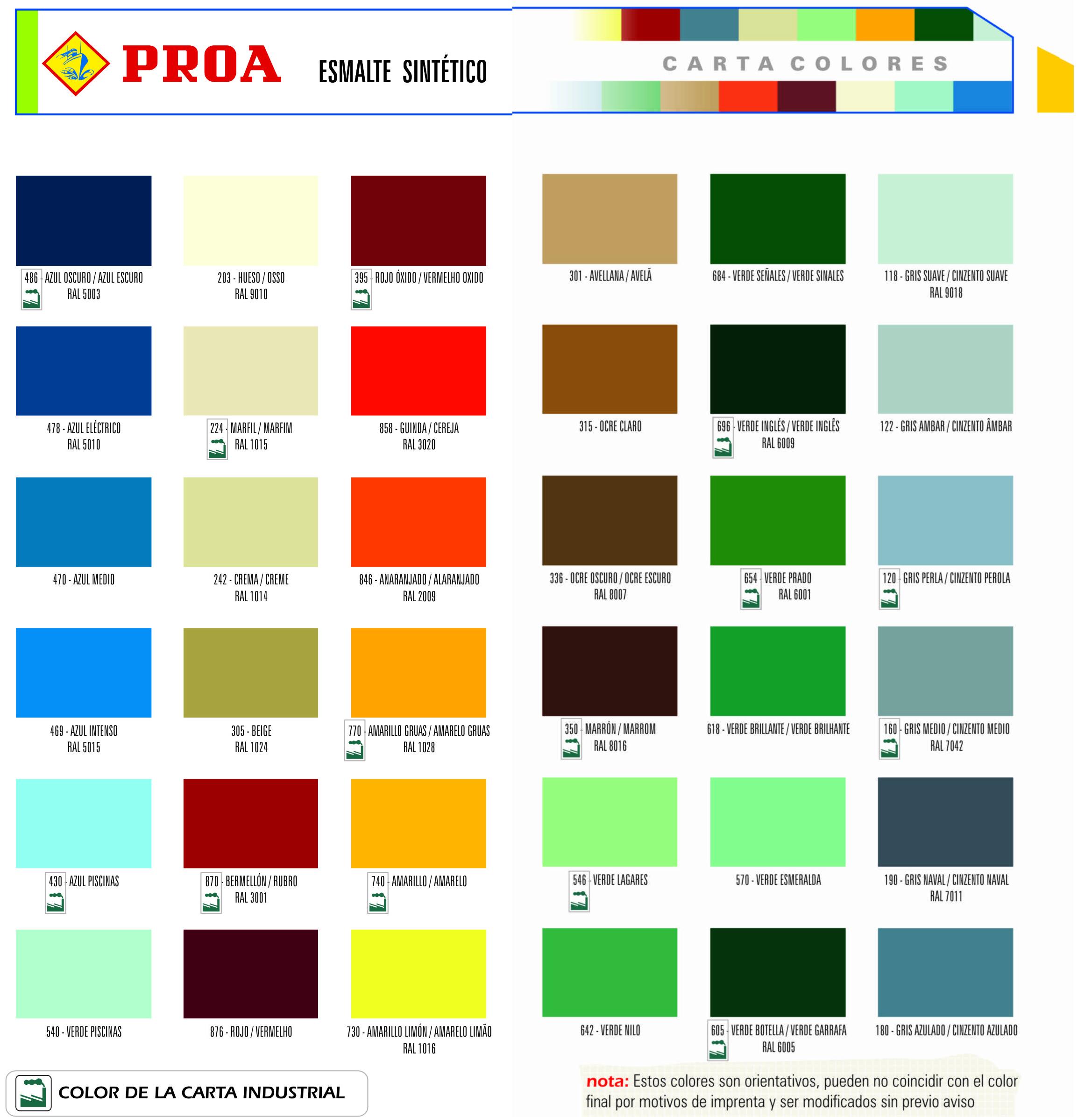 Pinturas colores  PROA
