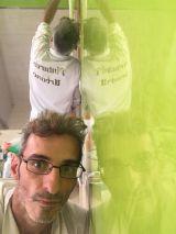Reflejos sobre estuco veneciano verde paredes wc (8)